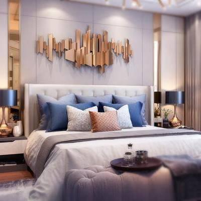 卧室, 双人床, 床尾凳, 吊灯, 床头柜, 台灯, 墙饰, 摆件, 简欧