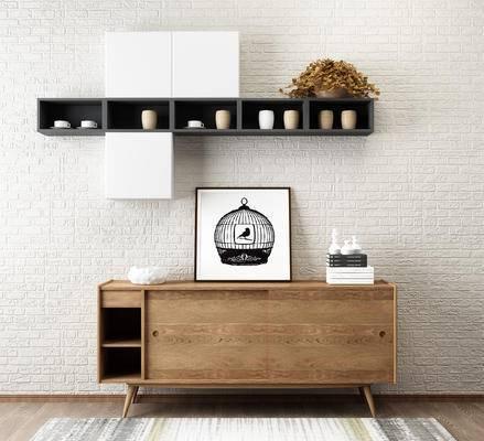北欧边柜, 玄关柜, 墙面装饰柜, 装饰架, 摆设品, 边柜, 墙面置物柜, 装饰画, 边柜组合