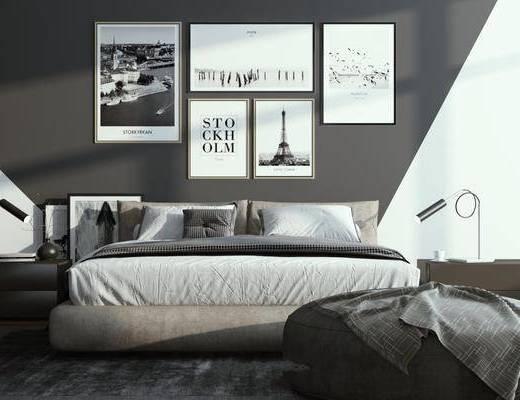 卧室, 装饰画, 床具组合, 床头柜