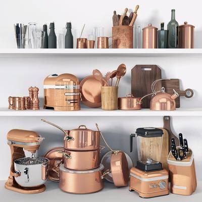 厨具, 美式厨具组合, 面包机, 咖啡机, 刀叉, 陶瓷器皿