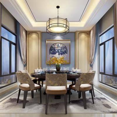 中式餐厅, 中式, 餐厅, 吊灯, 窗帘, 餐桌, 椅子, 花瓶