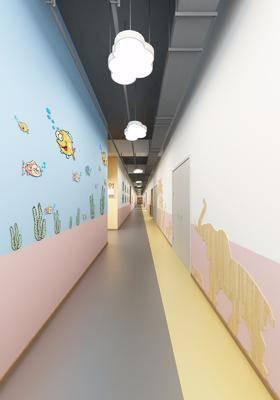 幼儿园, 走道, 廊道, 工装