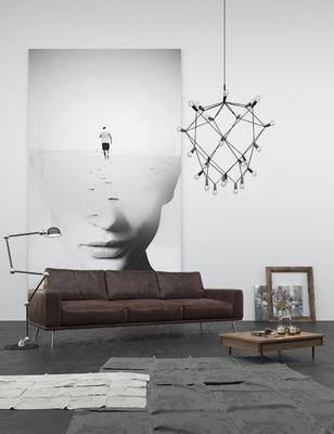 现代皮沙发, 多人沙发, 吊灯, 茶几, 现代