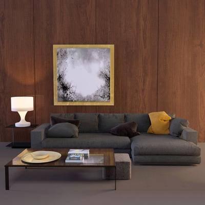 沙发, 茶几, 现代, 现代沙发, 挂画, 装饰画, 台灯, 边柜