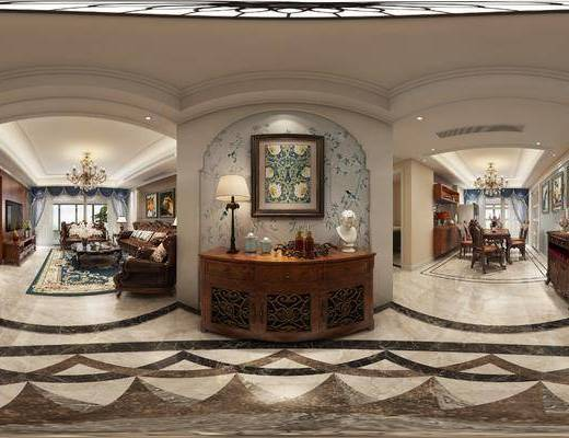 美式客餐厅, 客餐厅, 美式客厅