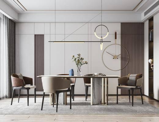 餐桌, 桌椅组合, 吊灯, 花瓶, 墙饰