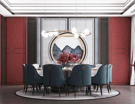 餐桌, 桌椅組合, 墻飾, 吊燈