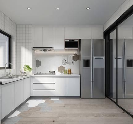 厨房, 厨具, 洗手台, 冰箱, 橱柜, 装饰柜, 现代简约