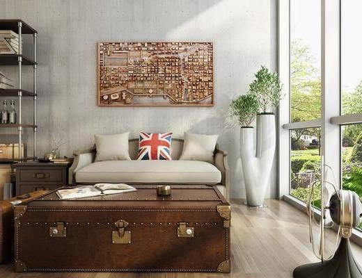 客厅, 多人沙发, 茶几, 盆栽, 绿植, 装饰架, 摆件, 装饰品, 陈设品, 装饰画, 挂画, 工业风