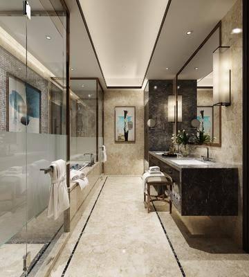 卫生间, 洗手台, 壁灯, 装饰镜, 装饰画, 浴缸, 凳子, 中式