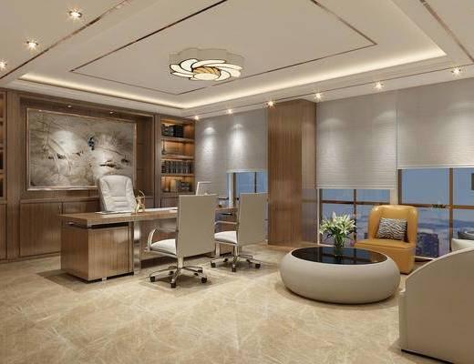 办公室, 经理室, 茶几, 椅子, 办公椅, 书柜