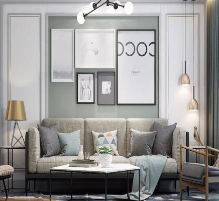 沙发组合, 装饰画, 茶几, 吊灯, 边几, 台灯