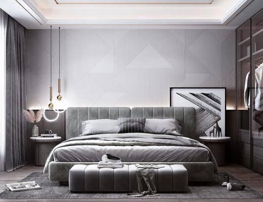 双人床, 衣柜, 吊灯, 装饰品, 摆件