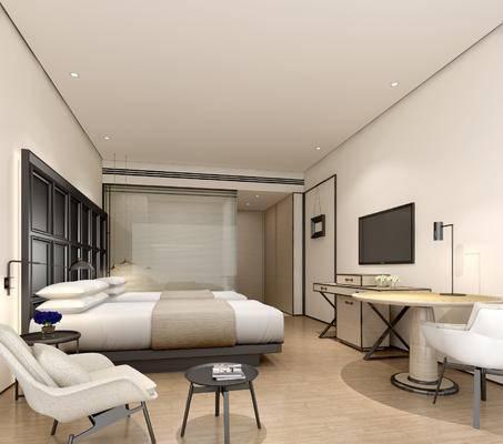 酒店客房, 现代酒店客房, 床具组合, 单椅, 桌子, 现代