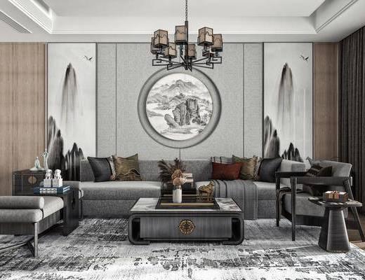 多人沙发, 墙饰, 吊灯, 休闲椅, 摆件