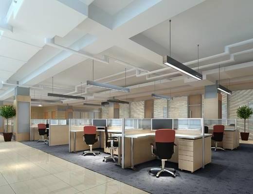 现代, 办公椅, 办公桌, 灯具