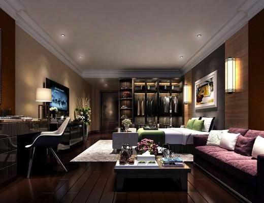 公寓, 客厅, 卧室, 多人沙发, 茶几, 书桌, 单人椅, 台灯, 装饰画, 挂画, 壁灯, 双人床, 衣柜, 装饰柜, 服饰, 盆栽, 摆件, 装饰品, 陈设品, 现代简约