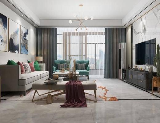沙发组合, 吊灯, 单椅, 电视柜, 餐桌, 酒柜, 茶几