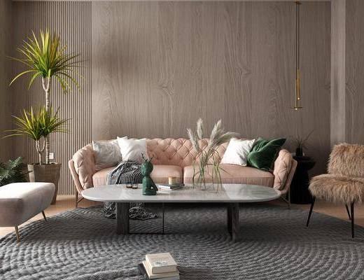 现代布艺沙发, 现代多人沙发, 现代边几