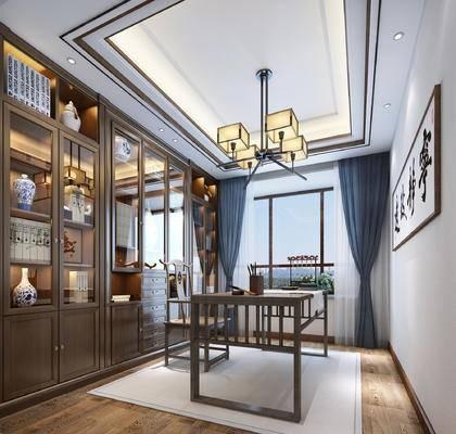 书桌, 桌椅组合, 吊灯, 装饰画, 书柜, 窗帘