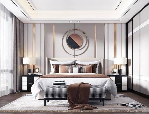 雙人床, 床具組合, 墻飾, 衣柜, 床頭柜