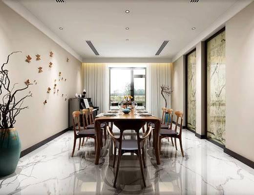 新中式, 餐桌椅, 干支, 钢琴, 壁挂, 餐厅
