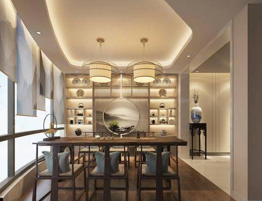 茶室, 茶桌, 单人椅, 吊灯, 装饰柜, 装饰架, 摆件, 装饰品, 陈设品, 新中式