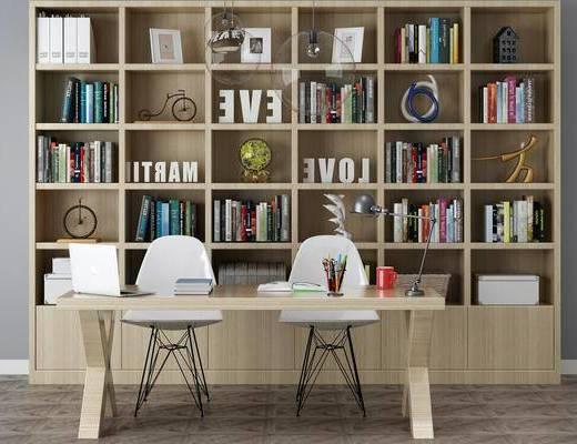 书桌, 办公桌, 书架