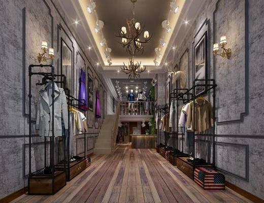 服装店, 衣架, 装饰架, 服饰, 吊灯, 鞋子, 壁灯, 楼梯, 前台, 电脑, 盆栽, 绿植植物, 射灯, 工业风