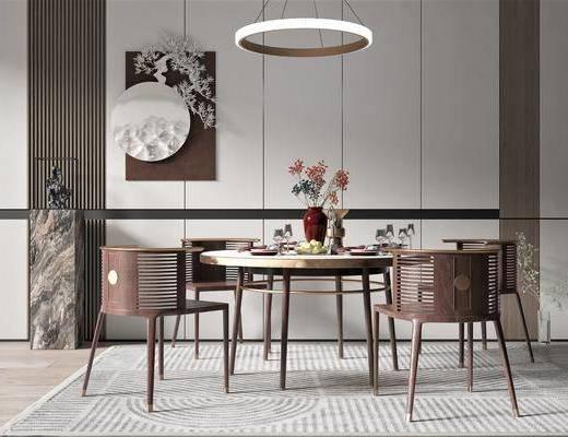 新中式, 餐桌椅, �M合