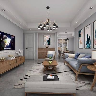北欧客厅, 北欧, 客厅, 布艺沙发, 电视柜, 吊灯, 装饰画, 挂画