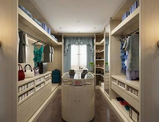 衣帽间, 衣架, 服饰, 衣柜, 壁灯, 现代