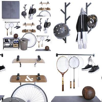 头盔, 滑板, 羽毛球, 拍排球