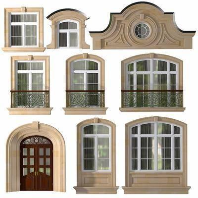 欧式, 实木, 实木门窗, 雕花, 平开窗, 双开门