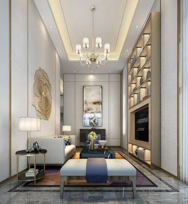 现代别墅, 现代客厅, 客厅, 别墅, 沙发, 装饰柜, 吊灯