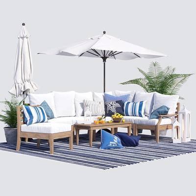 户外, 转角, 沙发, 休闲椅, 茶几, 食物, 地毯, 遮阳伞, 蜡烛, 灯, 盆栽, 户外椅