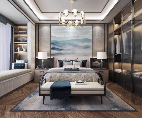 床头柜, 双人床, 衣柜, 背景墙, 床尾踏, 台灯