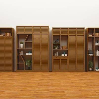 装饰柜, 盘栽, 书籍, 摆件, 现代