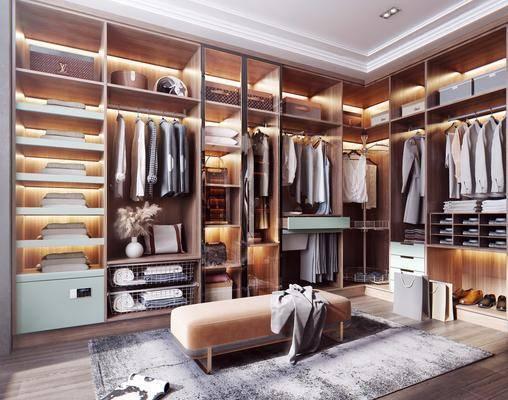 衣柜, 服饰, 旋转衣架, 沙发凳, 包包, 鞋子, 装饰品