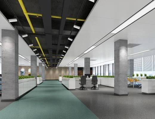 办公区, 办公桌椅组合, 工业风