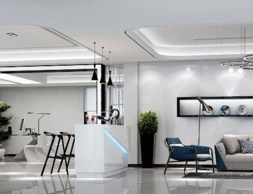 现代办公室, 办公室, 总经理办公室, 沙发组合
