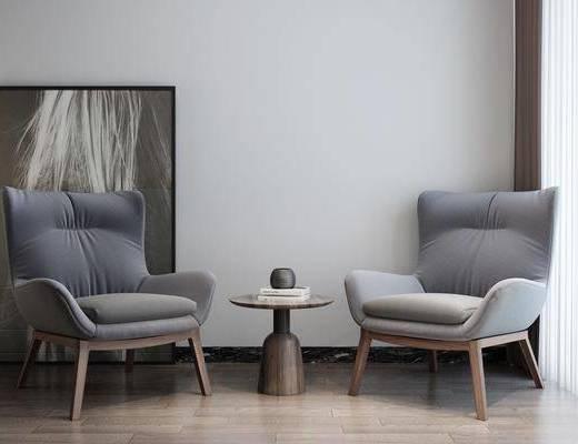 挂画, 单椅, 茶几, 摆件组合