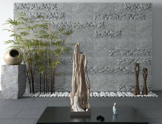 新中式, 景观, 小品, 竹子, 单品