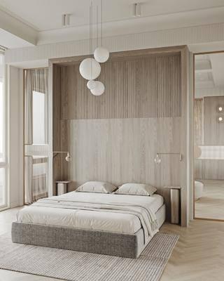 现代卧室, 简约卧室, 开放式卧室, 双人床, 吊灯