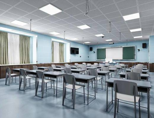 學校, 教室, 桌椅組合, 黑板