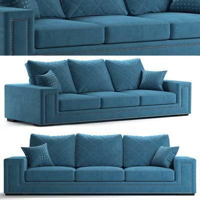 欧式沙发, 现代, 沙发, 多人沙发, 布艺沙发