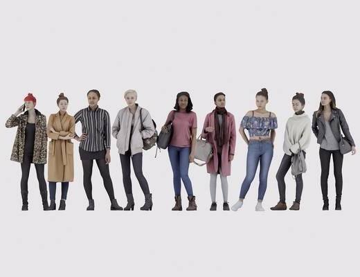 女人, 多人, 服装, 鞋帽, 衣服, 现代女人, 现代