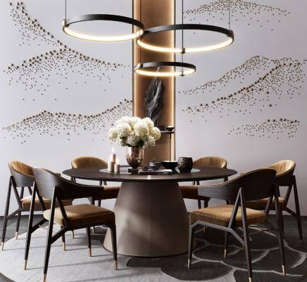 桌椅组合, 吊灯, 背景墙, 摆件组合