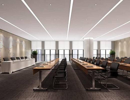 会议室, 现代, 会议桌, 办公椅, 演讲台
