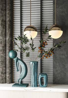 摆件组合, 吊灯, 装饰品, 花瓶, 植物